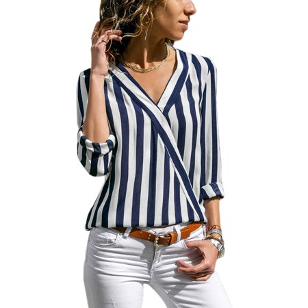 Women Striped Long Sleeve Blouse Loose Casual Tops Ladies Deep V Neck Office Work Summer Fashion Stripes Shirt Basic - Blue White Striped Blouse Shirt