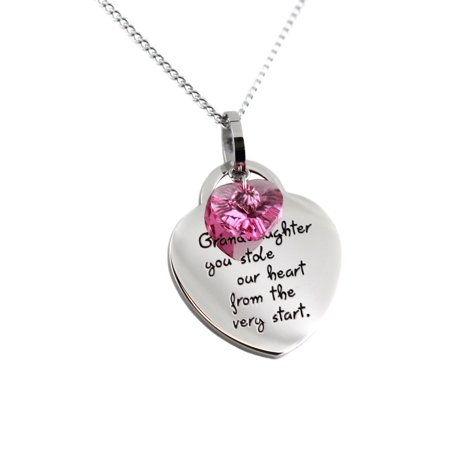Heart Shaped Pendant - Granddaughter Heart Shaped Stainless Steel Pendant Necklace