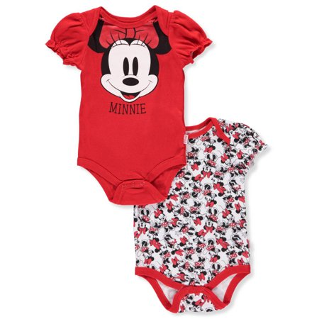 Disney Minnie Mouse Baby Girls' 2-Pack Bodysuits - Baby Minnie Mouse Onesie