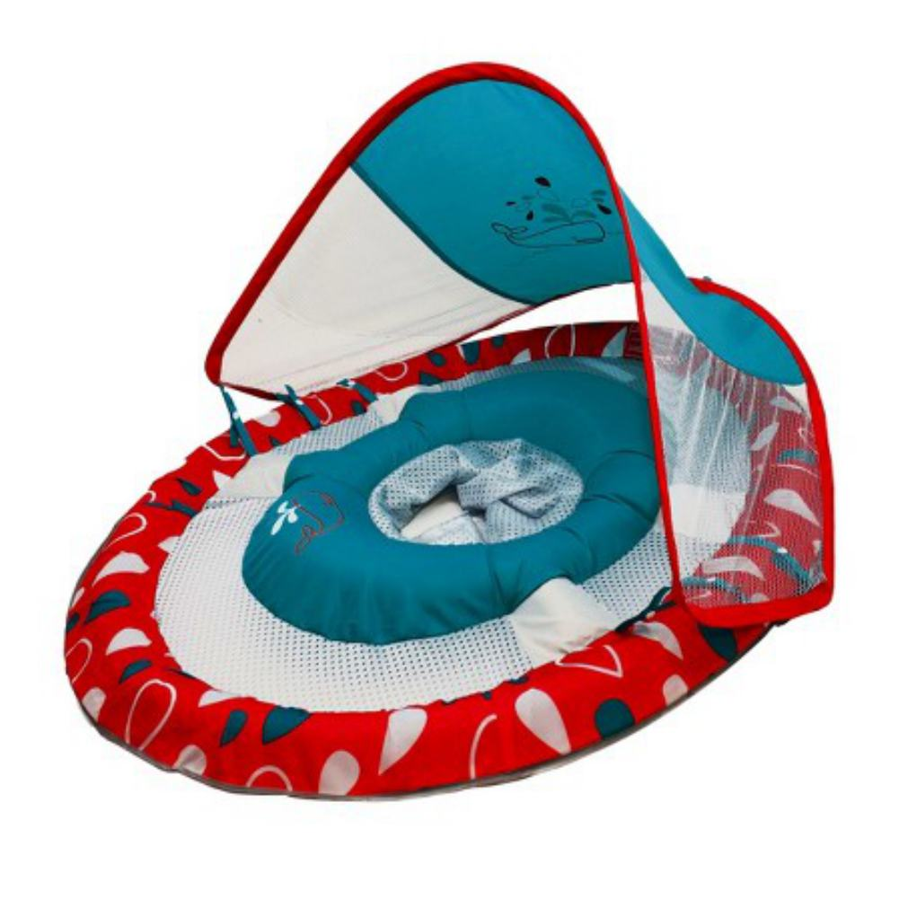 Swim Ways Baby Spring Float with Sun Canopy Red & Blue Dots & Whales Design