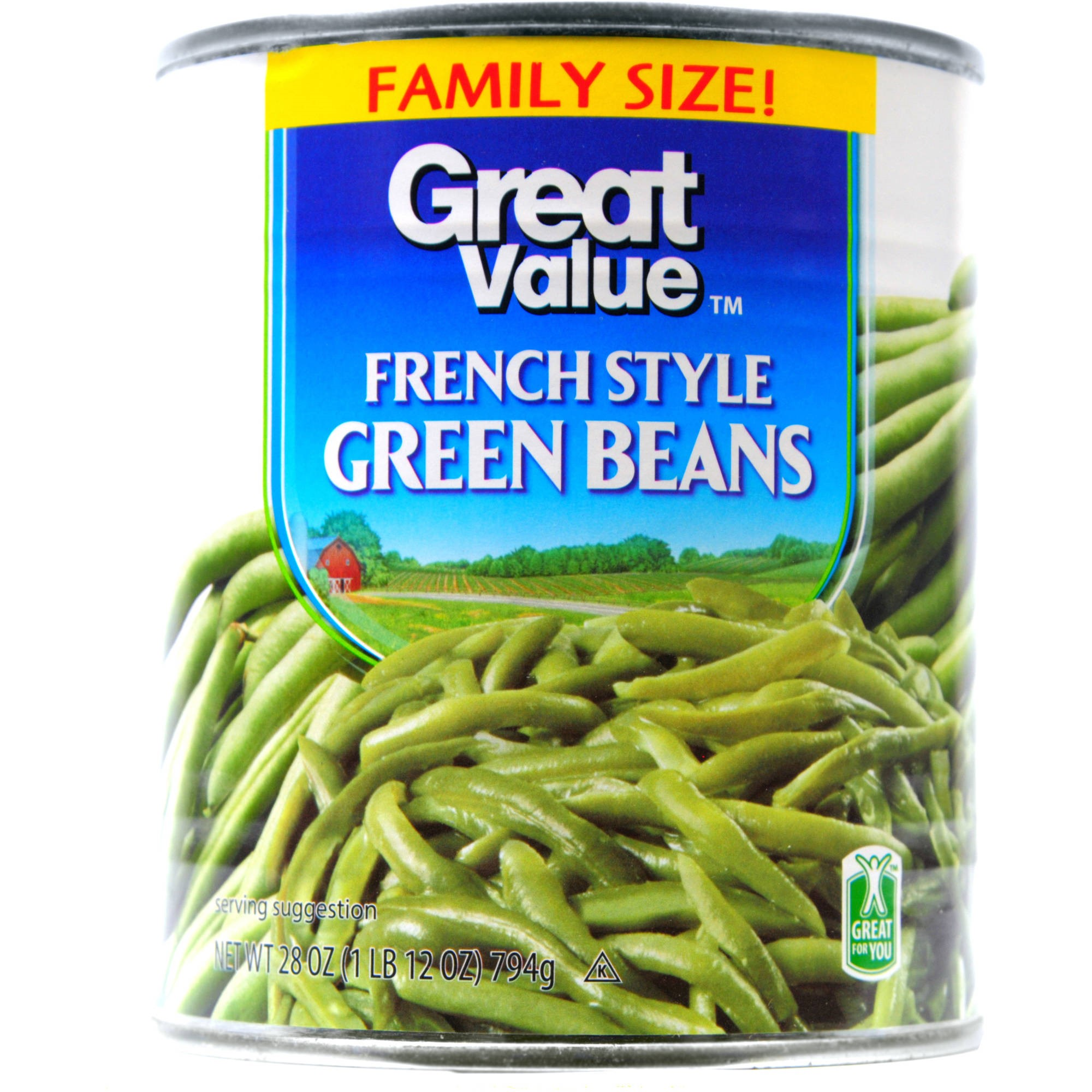 Great Value French Style Green Beans, 28 Oz