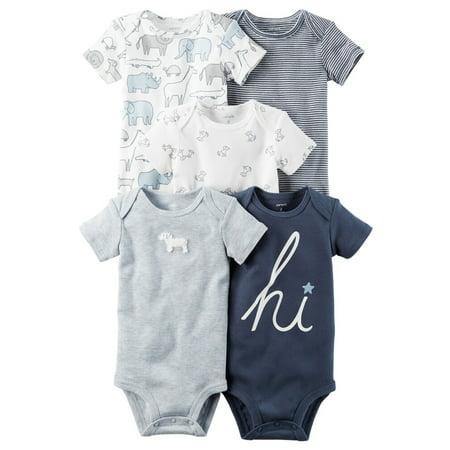 Carters Baby Boys 5-Pack Short-Sleeve Original Bodysuits Blue