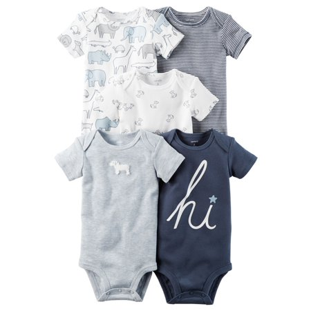 Carters Baby Boys 5-Pack Short-Sleeve Original Bodysuits Blue