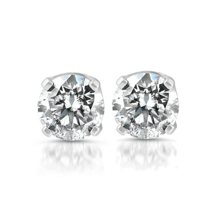 14k White Gold 1/5 Carat Real Round Diamond 4-Prong Studs Solitaire Earrings (Cheap Real Diamond Earrings)