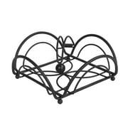 Spectrum Diversified Flower Weighted Napkin Holder, Flat Napkin Holder With Weighted Arm, Kitchen Napkin Dispenser, Sturdy Steel Kitchen & Dining Room Décor, Black