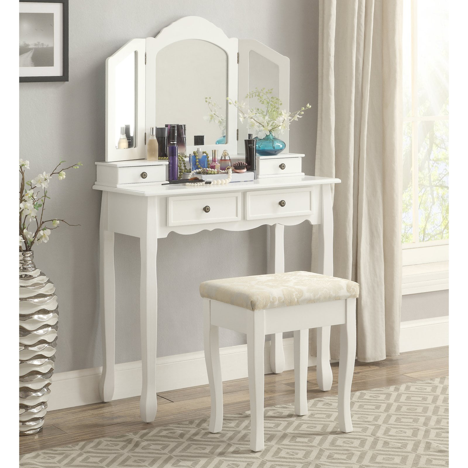 Roundhill Furniture Sanlo White Wooden Vanity Make Up Table And Stool Set