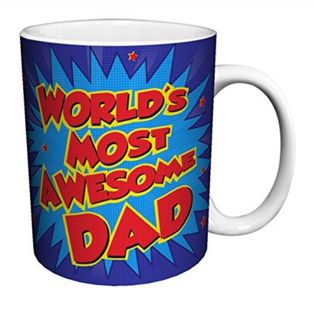 Cocoa Coffee Mug (World's Most Awesome Dad Comic Style Parental Humor Quote Decorative Ceramic Gift Coffee (Tea, Cocoa) 11 Oz.)
