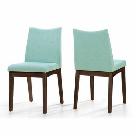 Ghp 2 Pcs Mid Century Modern Mint Blue Fabric Walnut Wood Cushioned Seat Dining Chair