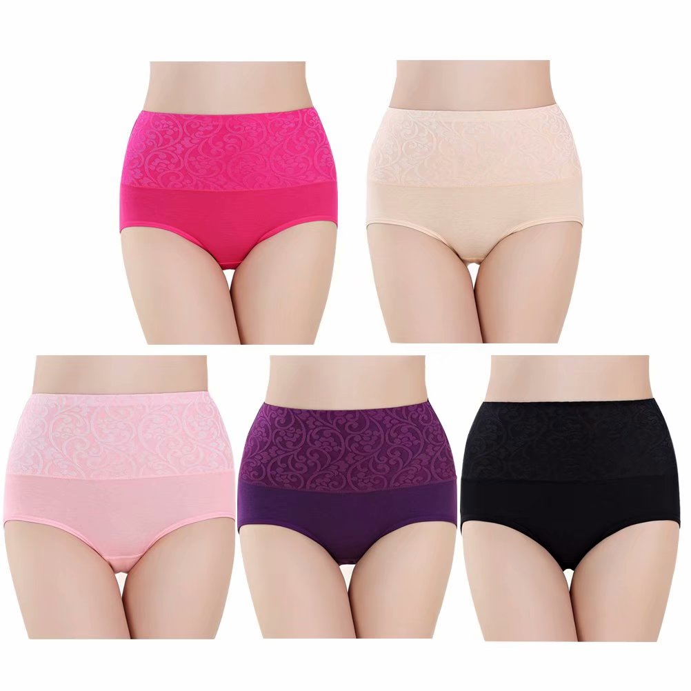 5PCS/Pack Womens High Waist Panties Briefs Cotton,Womens Underwear Packs, Pure Cotton Jacquard Weave Tummy Control Soft Stretch Panties