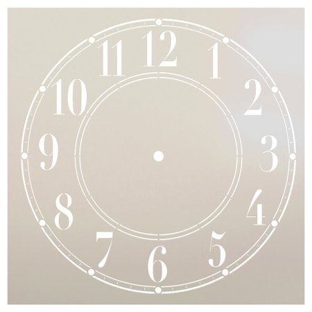 Schoolhouse Clock Stencil by StudioR12 | Basic Style Clock Face Art - Medium 9.5 x 9.5-inch Reusable Mylar Template | Painting, Chalk, Mixed Media | Use for Crafting, DIY Home Decor - STCL179_3 - Clock Craft