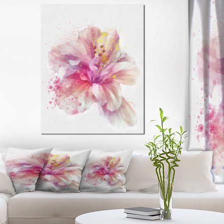 Beautiful Pink Flower Watercolor - Floral Canvas Art Print - image 4 of 4