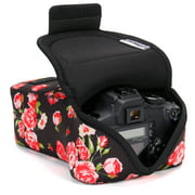 USA GEAR DSLR Camera Case SLR Camera Sleeve for Zoom Lens (Floral) with Neoprene Protection , Holster Belt Loop and Accessory Storage - Compatible with Canon , Nikon , Sony , Olympus , Pentax and More