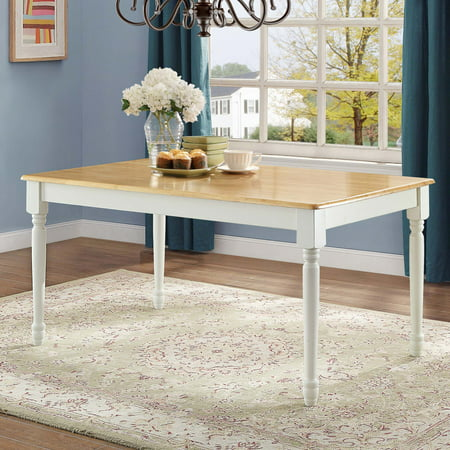 Better Homes and Gardens Autumn Lane Farmhouse Dining Table, White and Natural ()