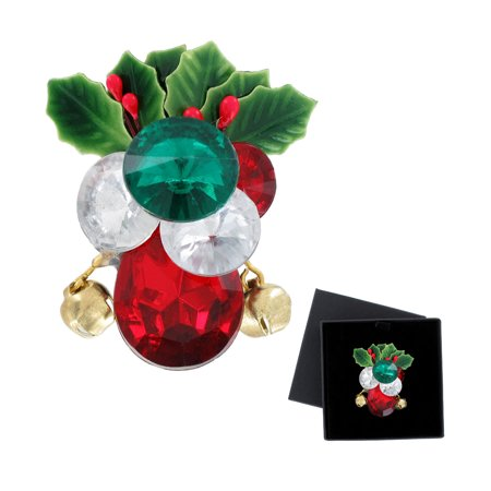 Holiday Christmas Jeweled Jingle Bell Holly Pin Brooch Clear Red Green