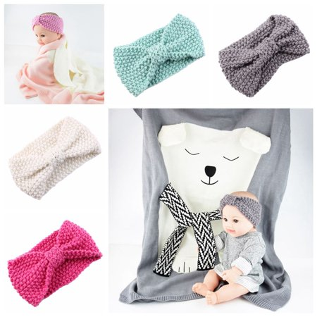 Fascigirl 4Pcs Baby Headbands Soft Comfortable Knotted Bow Wool Knitting Turban Headbands Hair Accessories for Baby Newborn Toddlers Boys Girls Shower Party Photo Props - Baby Shower Accesories
