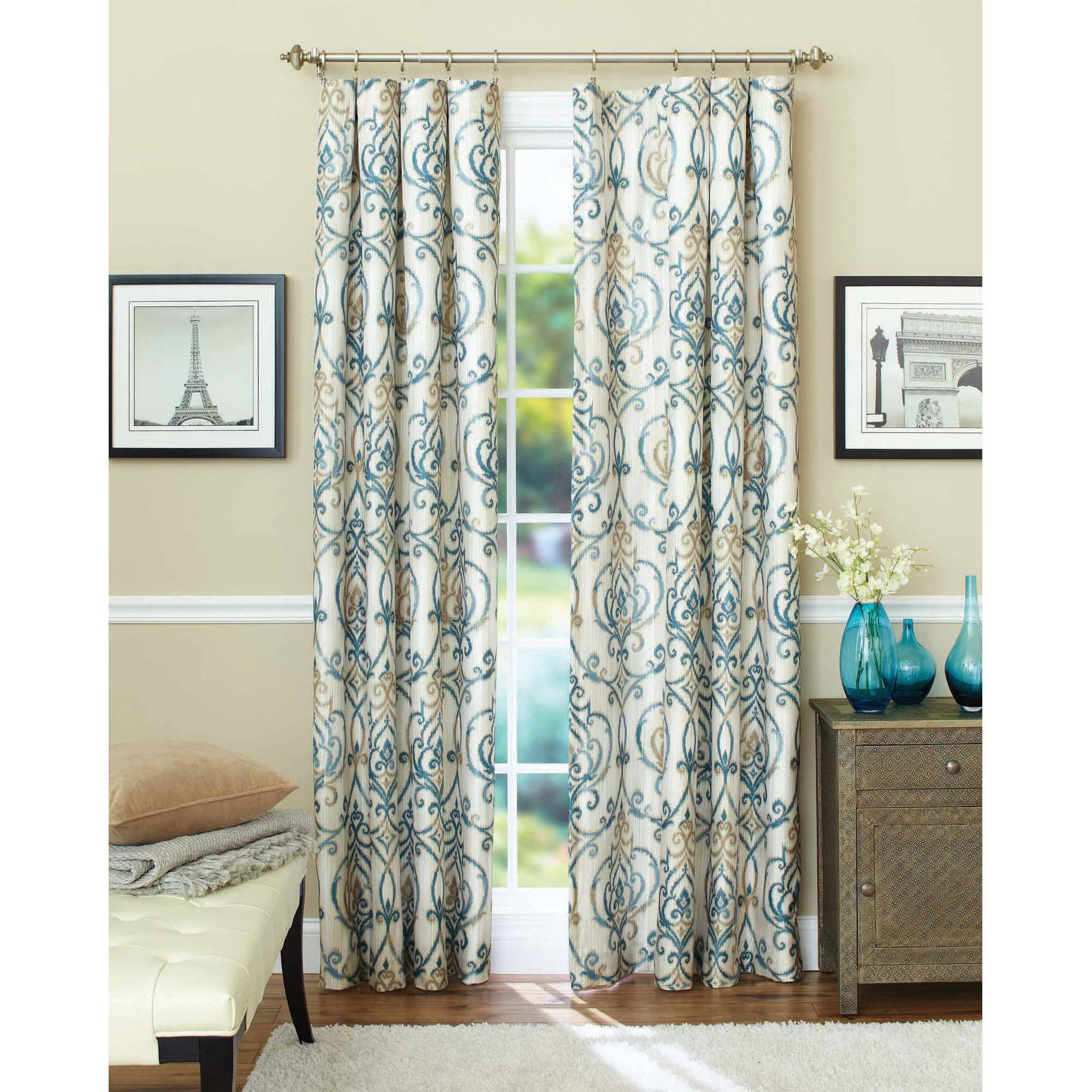 Walmart Curtains For Living Room Alluring Better Homes And Gardens Ikat Scroll Curtain Panel  Walmart Decorating Inspiration