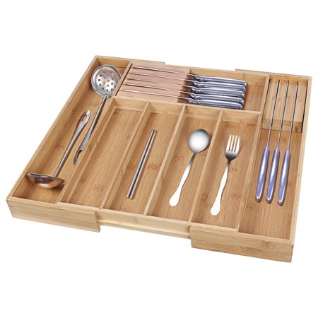 【LNCDIS】Bamboo Expandable Drawer Organizer Kitchen Premium Cutlery And Utensil Tray