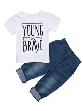 Hirigin Toddler Kids Baby Boy T-Shirt Tops Denim Pants Trousers Outfits Clothes Set 2Pcs