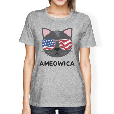 Ameowica Womens Graphic Tee Cute Cat Design Tee For 4th Of July - Cute Shirt Designs