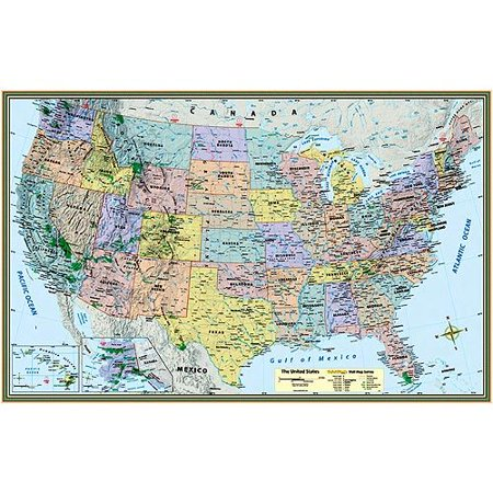 US Map Poster Laminated Walmartcom - Us map poster walmart