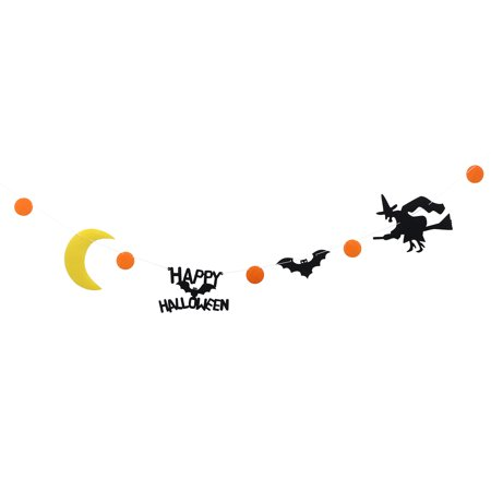 Happy Halloween Bunting Banner Moon Bat Witch Halloween Party Decoration Banners for Home Haunt House Ornaments