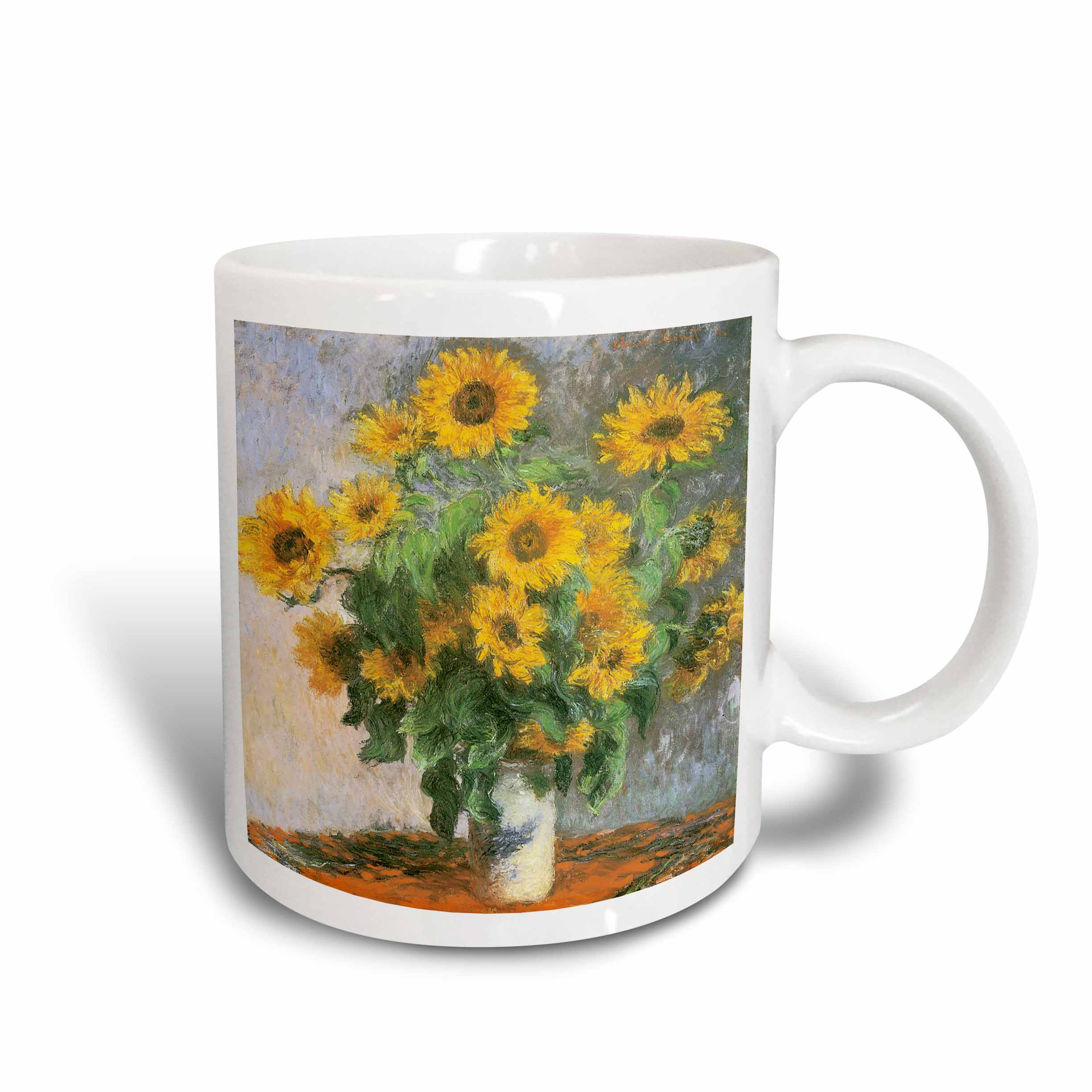 3dRose Sunflowers by Claude Monet, 1881 Impressionist Still Life Painting, Ceramic Mug, 15-ounce