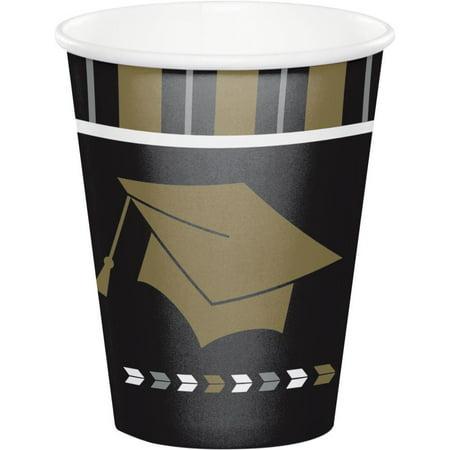 Graduation Cups (Creative Converting Glitzy Grad Hot/Cold Paper Cups 9 Oz., 8)