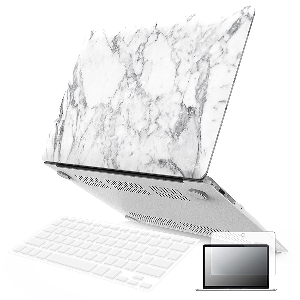 "iBenzer - 3 in 1 Macbook Air 13"" Soft-Skin Plastic Hard Case Cover & Keyboard Cover & Screen Protector for Macbook Air 13"" NO CD-ROM (A1369/A1466), White Marble MMA1301WHMB+2"