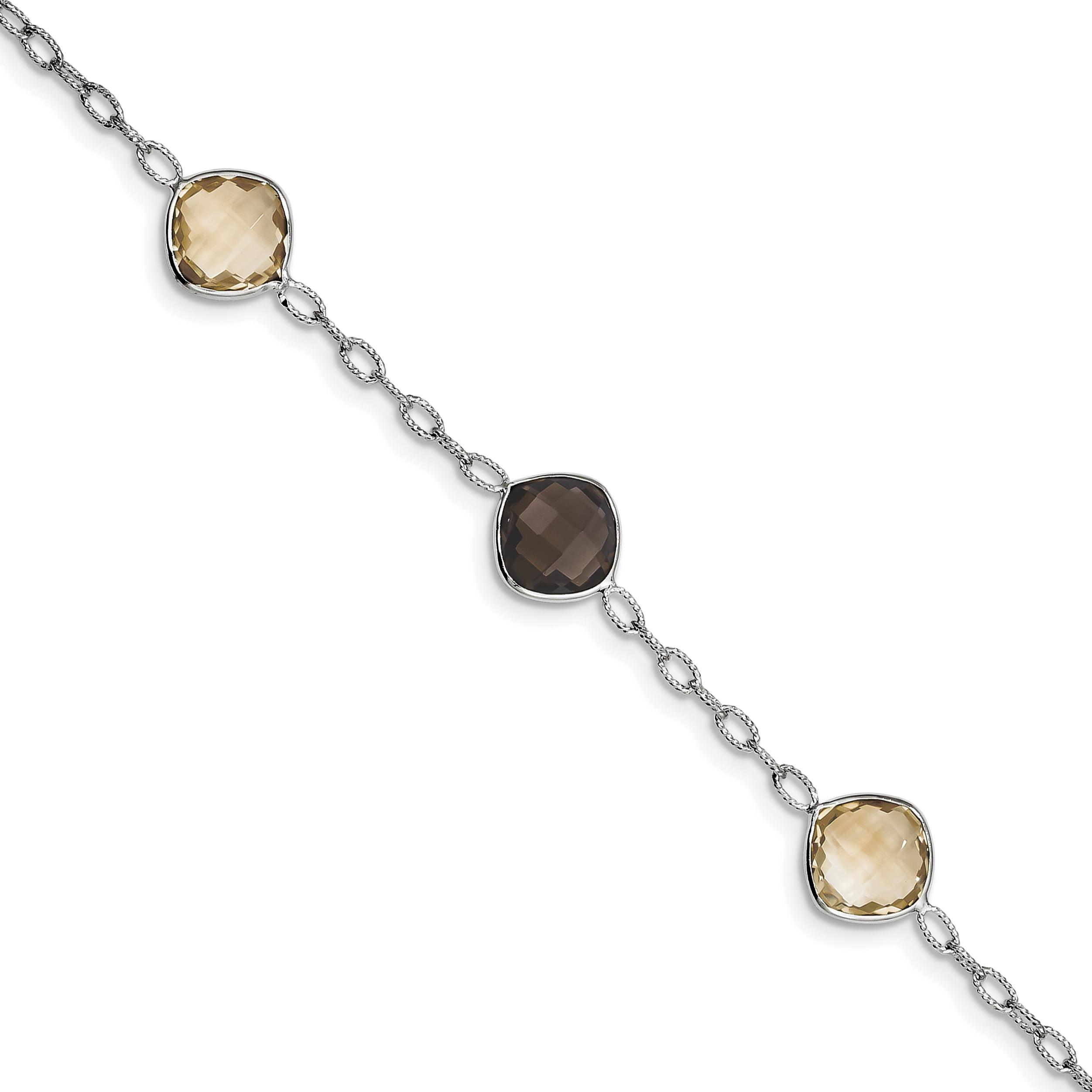 Sterling Silver Rhodium-plated Citrine & Smoky Quartz Bracelet QX867CI by Core Silver