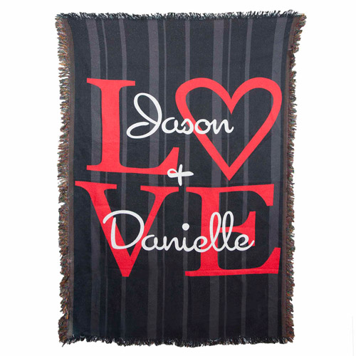 "Personalized ""LOVE"" 54"" x 38"" Throw"