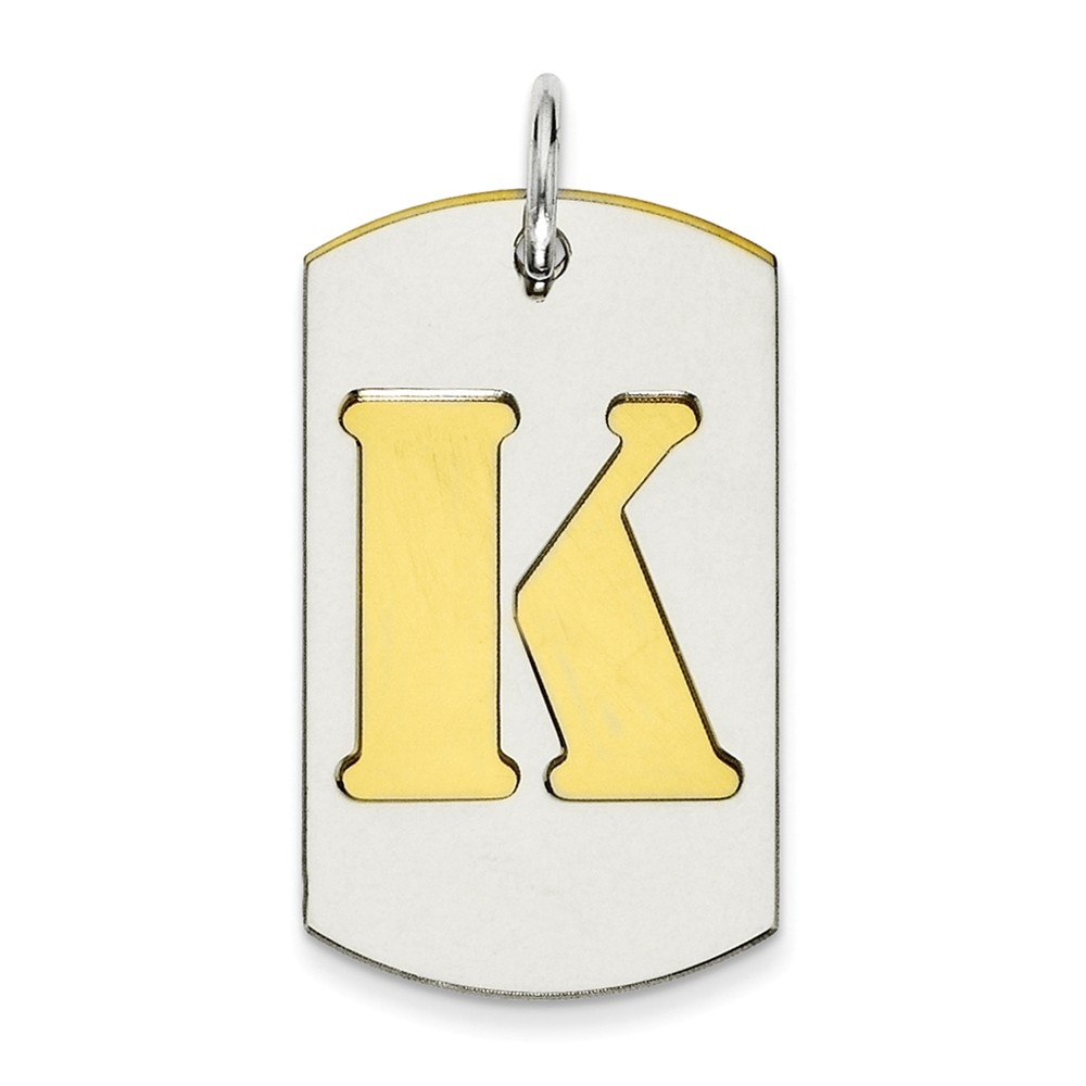 Sterling Silver Engravable GP Initial K Double Plate Dog Tag Charm (0.9in long x 0.6in wide)