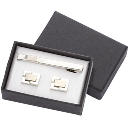 International CUT-02 2 Tone Silver Metal Cufflinks with Matching Tie Clip