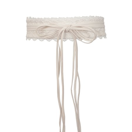 eVogues Plus size Faux Leather Obi Waistband Sash Belt Lace Detail Off White Belted Lace Belt