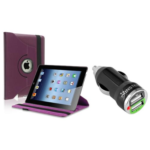 Insten 360-degree Swivel Leather Case For Apple iPad 2 / 3 / 4, Purple (with 2-Port USB Car Charger Adapter)