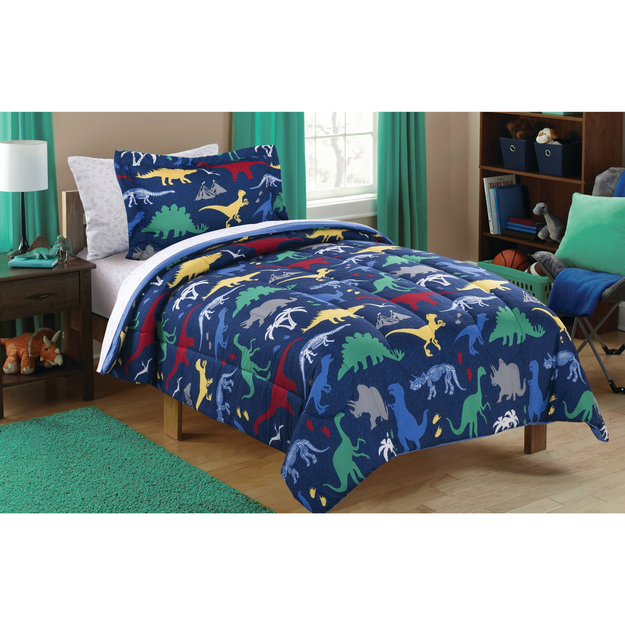 Mainstays Kids Dino Roam Bed in a Bag Bedding Set