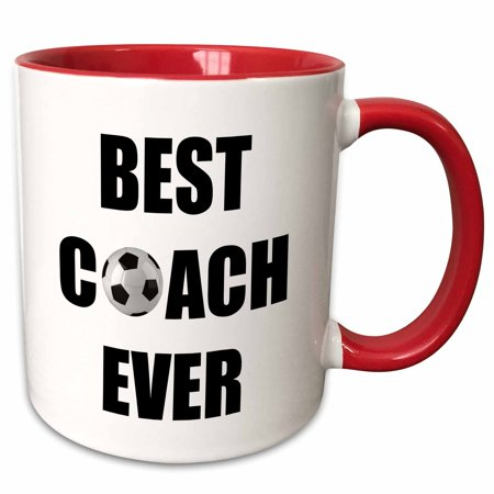 3dRose Best Soccer Coach Ever - Two Tone Red Mug, (The Best Catch Ever)
