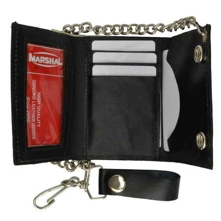 BLACK GENUINE LEATHER Trifold Biker's Wallet ID Card Holder w/ Chain 946-22 (C) Bullet Wallet Chain