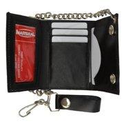 BLACK GENUINE LEATHER Trifold Biker's Wallet ID Card Holder w/ Chain 946-22 (C)