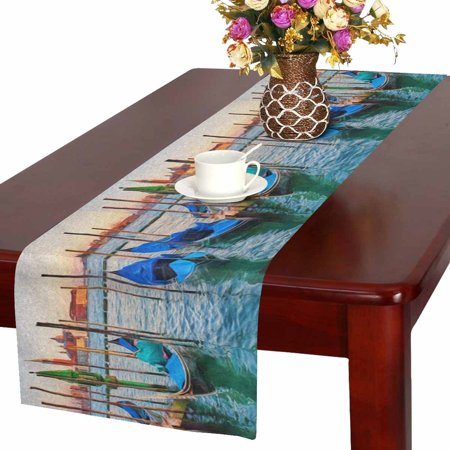 MKHERT Gondolas Boats in Venice Italy at Sunset Table Runner Home Decor for Wedding Banquet Decoration 16x72 - Italy Table Decorations