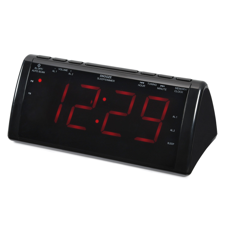 Onn Jumbo Digit Clock Radio With Usb Charging, 1.8-Inch Screen