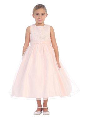 Little Girls Blush Organza Glitter Pleated Sash Elegant Flower Girl Dress