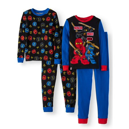 Glow in the Dark Fitted Ninjago 4 Piece Pajama Sleep Set (Big Boy & Little - Glow In The Dark Rave Wear