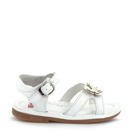 Buckle Strap Accent - Rilo Girls White Butterfly Accent Buckled Strap Leather Sandals