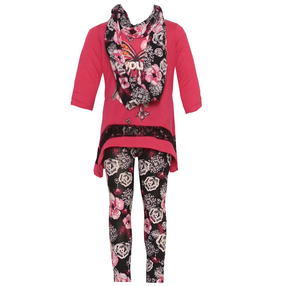 Little Girls Fuchsia Hanky Hem Tunic Scarf Floral Pattern Leggings Outfit 4-6X