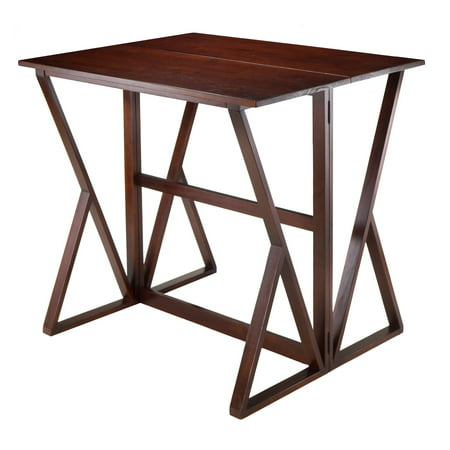 Winsome Wood Harrington Drop Leaf High Table, Walnut Finish Gold Leaf Finish Set
