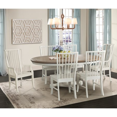 Picket House Furnishings Cayman 7PC Dining Set-Table, Four Side Chairs & Two Windsor (Dining Room Table With Drop Down Sides)