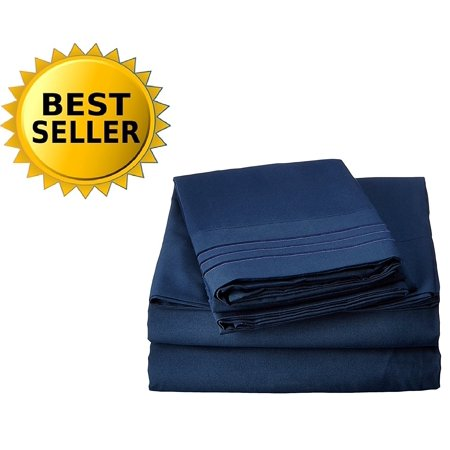 2-Piece Pillowcases 1800 Series Egyptian Quality Super Soft Wrinkle Resistant & Fade Resistant Beautiful Design on Pillowcases Hypoallergenic , King Size, Navy.., By Celine Linen