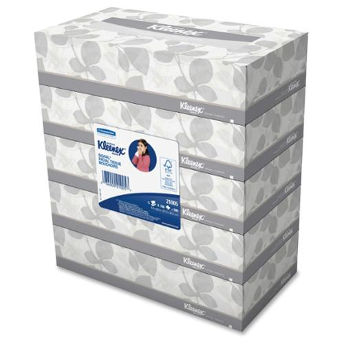 "Kleenex Facial Tissue - 2 Ply - 5 / Carton - 8.40"" X 8.20"" - White - Wood (kim-21005)"