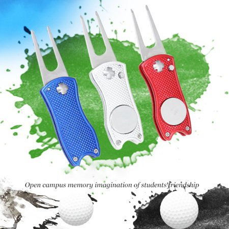 Golf Divot Repair Tool, Foldable Magnetic Pop-up Button Stainless Steel Switchblade & Detachable Golf Ball