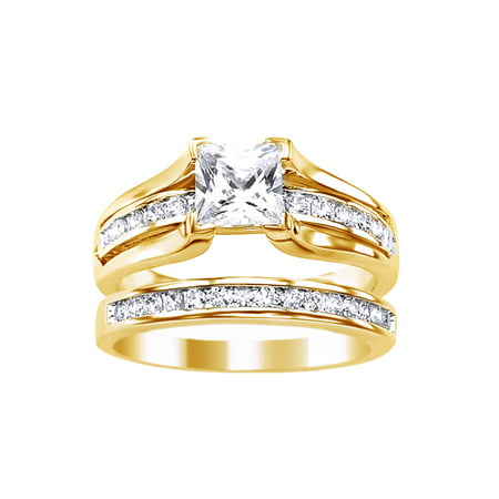 Princess Cut White Cubic Zirconia Wedding Ring Set In 14k Yellow Gold Over Sterling
